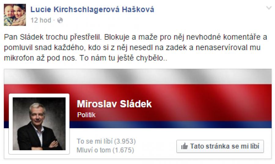 FB příspěvek Lucie Hašková