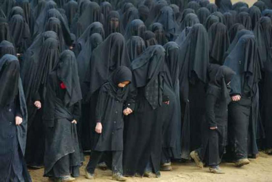 Islámské ženy s burkou.