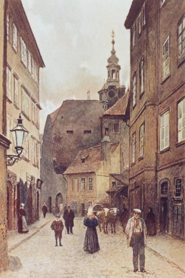 Akvarel Maiselovy ulice od Václava Jansy z roku 1896.
