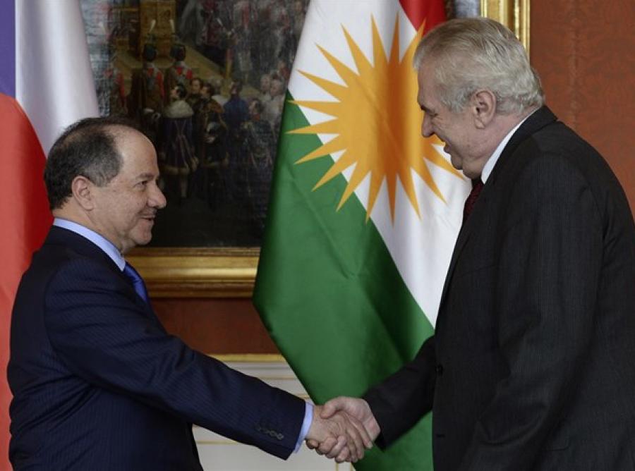 Mesůd Barzani s Milošem Zemanem v Praze