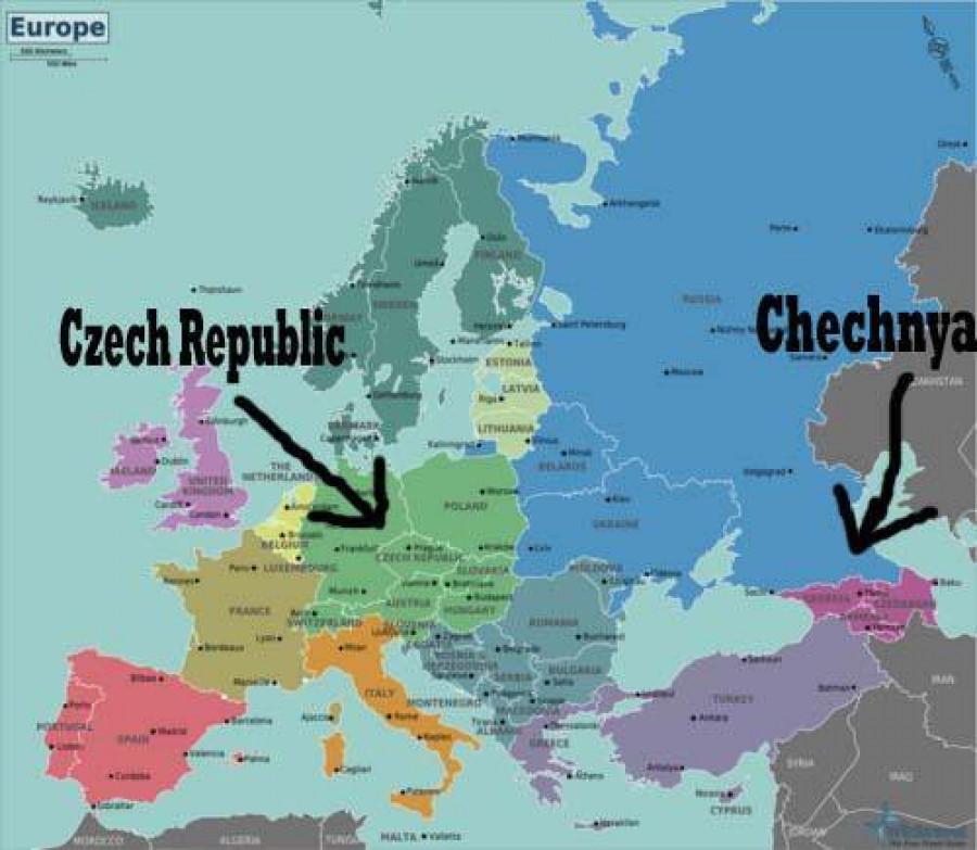 Obrázek ukazující rozdíl mezi Českou republikou a Čečenskem na mapě