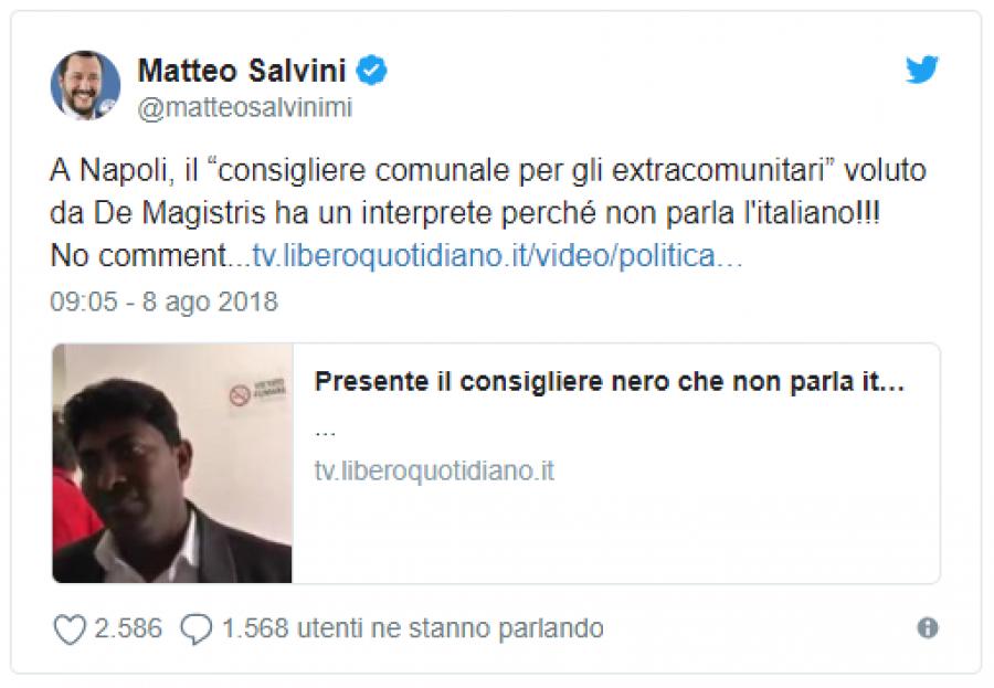 V Neapoli má městský radní pro mimoevropské imigranty, kterého chtěl De Magistris, tlumočníka, protože nehovoří italsky! Bez komentáře ...