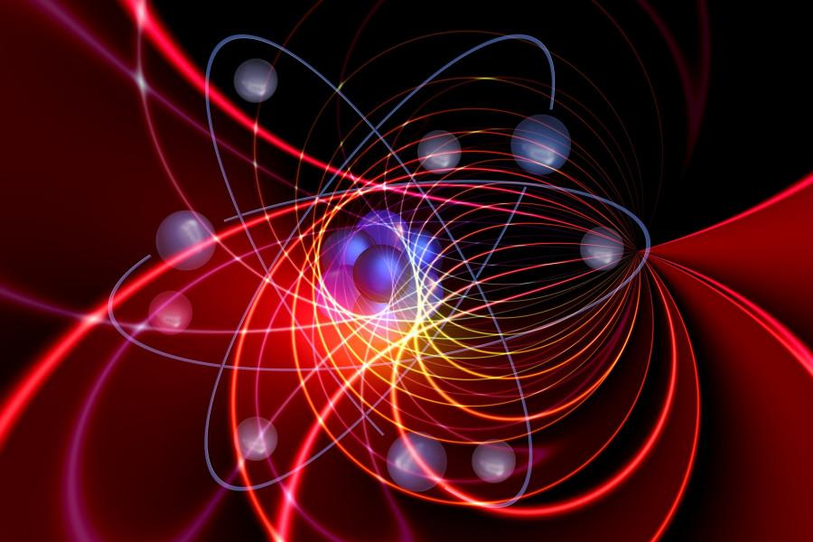 Ilustrace kvantové superpozice, tedy současné existence částice na mnoha místech, což rozhodně neodpovídá chápání objektů v rámci přirozené skutečnosti.