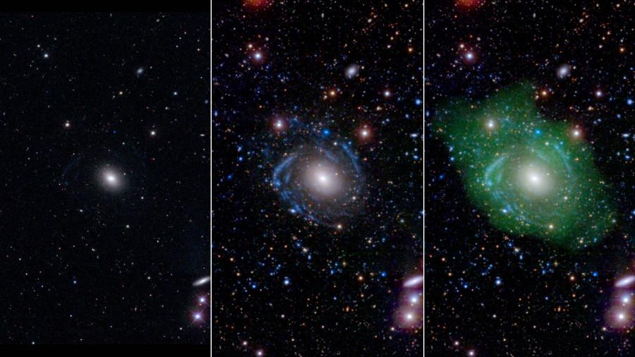 UGC 1382, viděná viditelným světlem (vlevo) se jeví jako malá eliptická galaxie, ale s přidáním ultrafialového spektra (uprostřed) zjistíme, že má obří spirální ramena. Když přidáme navíc infračervené paprsky, uvidíme obrázek vpravo.