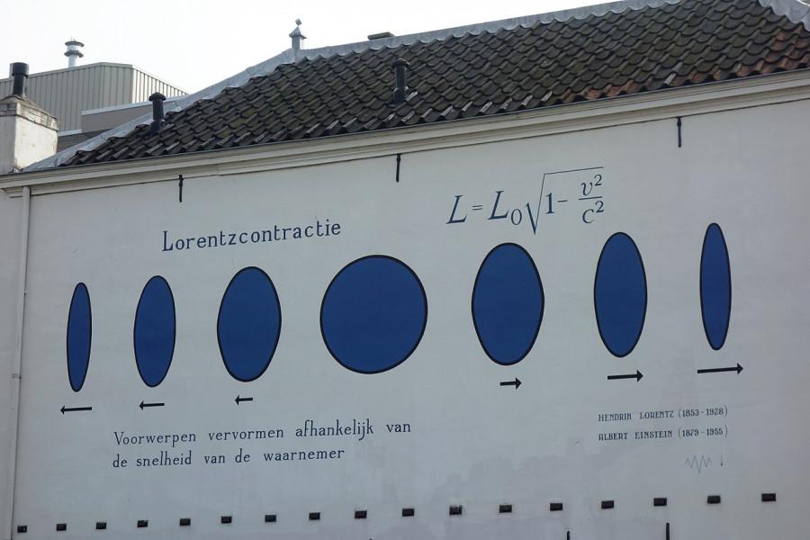 Ilustrace kontrakce délky tělesa, pohybujícího se rychlostí významnou vzhledem k rychlosti světla. Tato kontrakce je způsobena vykloněním tělesa do 4.dimenze.