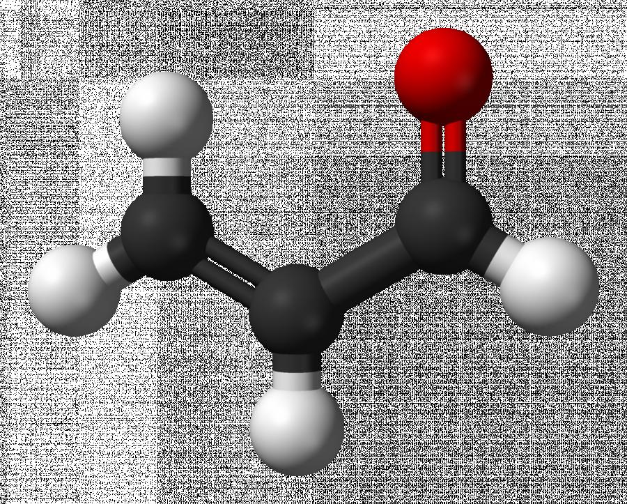 Obrázek: Akrolein. Zdroj: Benjah-bmm27 [Public domain], https://upload.wikimedia.org/wikipedia/commons/b/b7/Acrolein-3D-balls.png