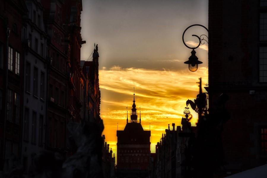Gdańsk při západu slunce.