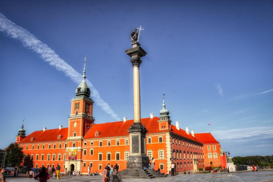 Královský zámek, Varšava. Zrovna se tam natáčel film.