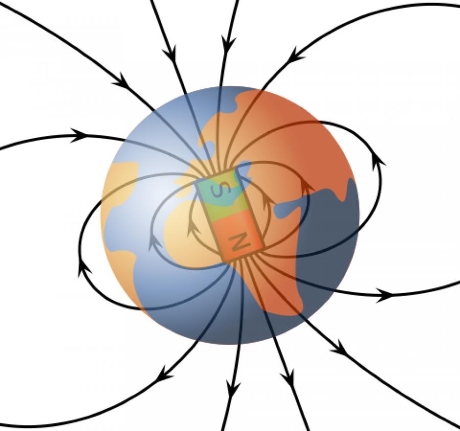 Obrázek: Magnetické pole kolem sférického dipólového magnetu, podobnému Zemi. Zdroj: MikeRun, CC BY-SA 3.0 <https://creativecommons.org/licenses/by-sa/3.0>, via Wikimedia Commons, https://upload.wikimedia.org/wikipedia/commons/1/19/VFPt_Earths_Magnetic_Field_Confusion_overlay.svg