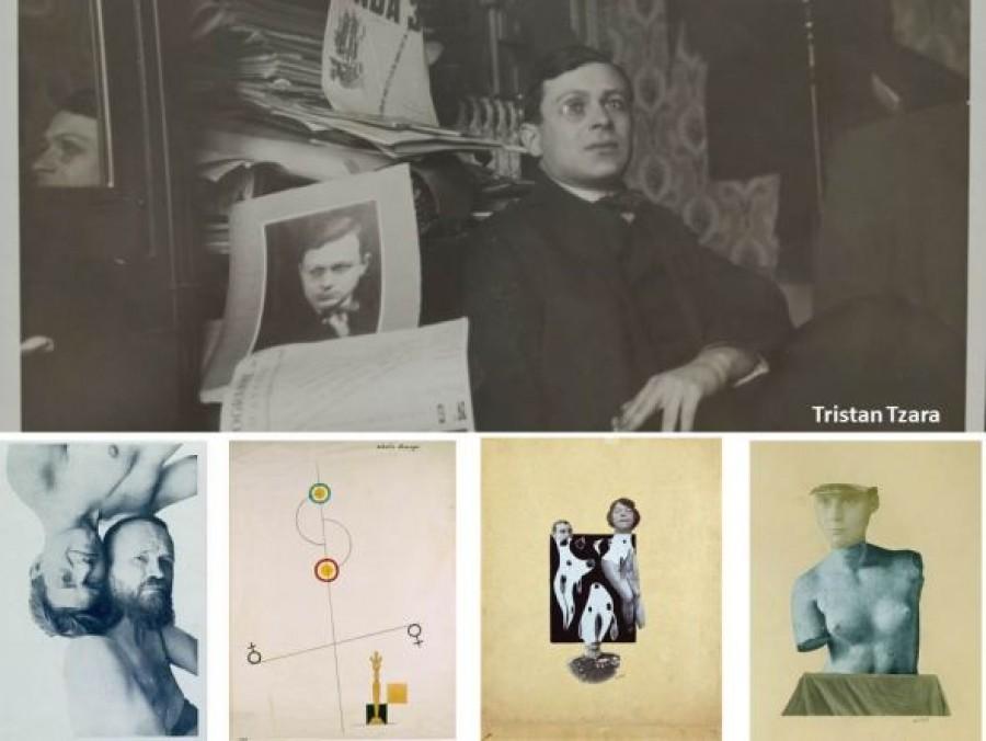 Tristan Tzara, dole zleva J.Haertfield?, G.Ribemont-Dessaignes, J.Baargeld 2x