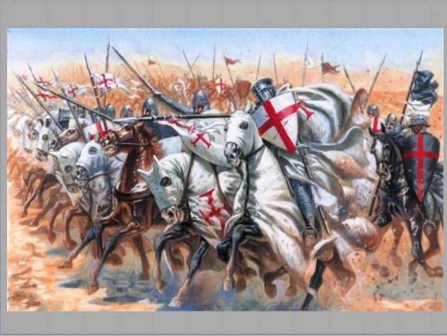 Křižáčtí hrdinové v boji s muslimskými fanatiky.