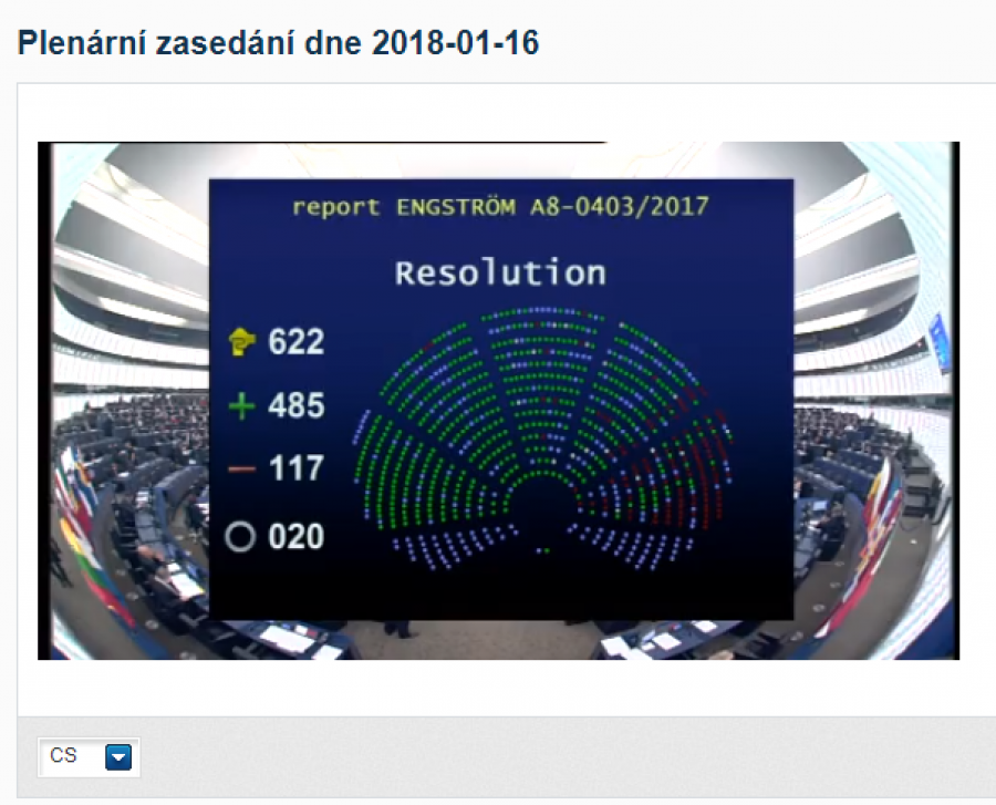 EU 16.01.2018 Hlasování k přjetí návrhu švédské levicové poslankyně, Linnéa Engström
