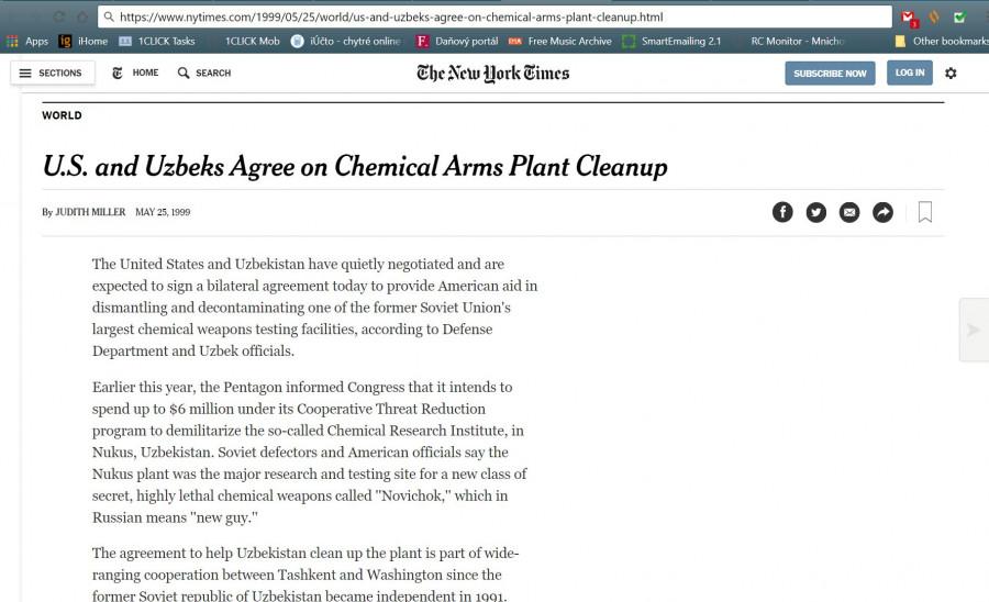 Text z New York Times, jak ameryčani za 6 milionu dolaču zlikvidovali v uzbeckych zasobarnach všecek Novyčok