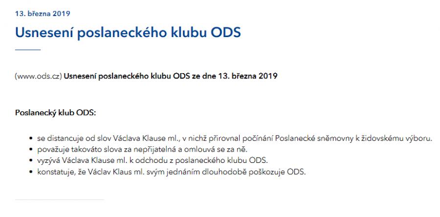 Usnesení poslaneckého klubu ODS