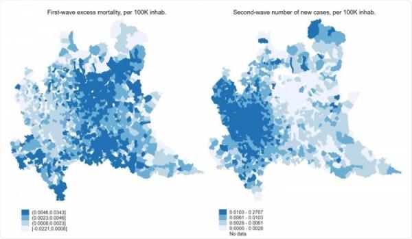 Srovnání první a druhé vlny v Lombardii. Oblasti, které byly na jaře postiženy nejvíce, mají v současnosti nejméně nakažených
