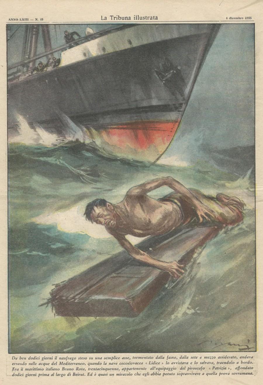 Ilustrace italského týdeníku La Tribuna illustrata ze 4. prosince 1955 s tématikou záchrany trosečníka Bruno Roty československou lodí Lidice