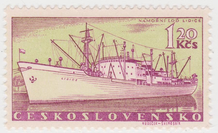 Loď Lidice se objevila i na československé známce z roku 1960 v emisi