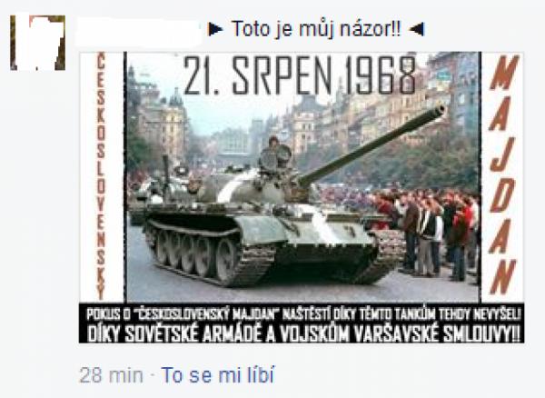 Jeden ze sdílených obrázků o srpnu 1968 na FB stránce