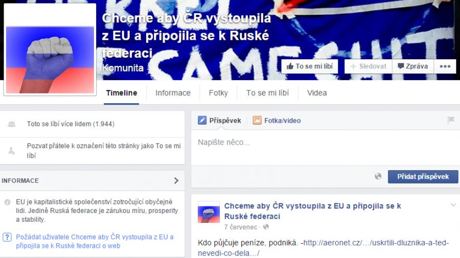 Titulka FB stránky o připojení ČR k Rusku