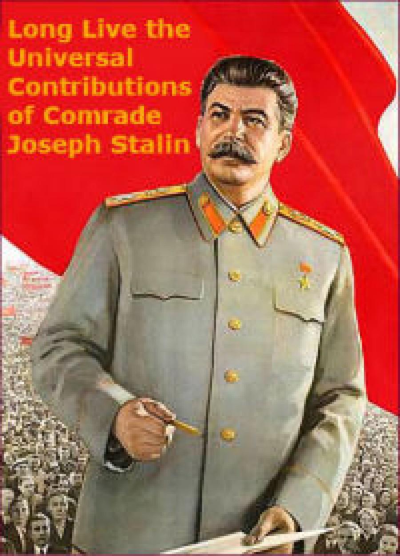 Josef Vissarionovič Stalin 1879 - 1953)  Vlastním jménem Džugašvili. Vedoucí činitel Komunistické strany Sovětského svazu, sovětského státu a mezinárodního komunistického a dělnického hnutí, teoretik a propagátor marxismu-leninismu, hrdina socialistické práce (1939), hrdina Sovětského svazu (1945), maršál Sovětského svazu (1943), generalissimus Sovětského svazu (1945). Rodák z gruzínského města Gori do revolučního hnutí vstoupil ve svých patnácti letech. Po svém vyloučení z pravoslavného semináře za propagaci marxismu a krátkém zaměstnání ve fyzikální observatoři vedl od roku 1901 až do únorové revoluce 1917 život profesionálního revolucionáře pracujícího v ilegalitě. Byl opakovaně vězněn a posílán do vyhnanství, odkud několikrát uprchl. Účastnil se revoluce v Zakavkazsku v l. 1905 - 1907 a byl jedním z vůdců Velké říjnové socialistické revoluce roku 1917 v Petrohradě. V první sovětské vládě, Radě lidových komisařů, zastával funkci lidového komisaře národnostních věcí. 3. 4. 1922 byl Stalin na Leninův návrh zvolen generálním tajemníkem ústředního výboru Komunistické strany Ruska (bolševiků) a v čele strany stál až do své smrti 5. 3. 1953. Od 6. 5. 1941 do své smrti byl také předsedou Rady lidových komisařů SSSR, od r. 1946 nesoucí název Rada ministrů SSSR. J. V. Stalin významně přispěl k vítězství sovětské moci nad domácí kontrarevolucí a zahraniční intervencí v občanské válce, vytvoření mnohonárodnostního Svazu sovětských socialistických republik a konsolidaci strany po Leninově smrti. Se Stalinovým jménem je spojeno vítězství socialistické industrializace, kolektivizace zemědělství, všestranný rozvoj centrálně plánovaného hospodářství, vědy, techniky, socialistické kultury, upevňování komunistické morálky a porážka trockistů a pravicových oportunistů, jejichž činnost směřovala k obnově kapitalismu. Je tedy nevyvratitelnou skutečností, že to byl J. V. Stalin, pod jehož vedením sovětský lid vybudoval sociálně-ekonomické základy socialismu. Stalinovou zásluhou byla l