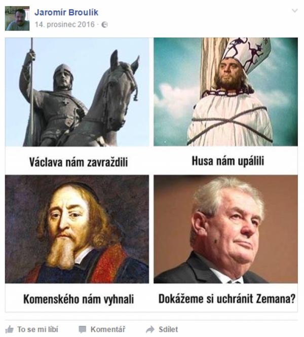 Sv. Václav, Hus, Komenský a Zeman