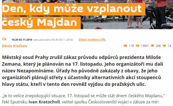 Vzplanutí českého Majdanu