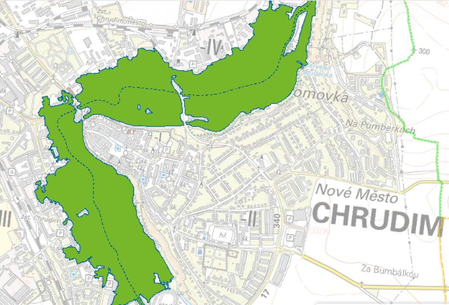 Chrudim (Q100) - voda by zaplavila velkou část centra města.