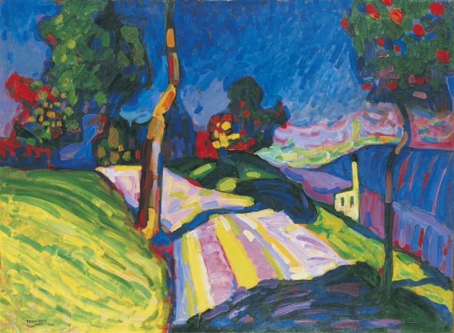 Wassily Kandinsky, Murnau – Kohlgruberstrasse, 1908, olej na kartonu, 71 x 97,5 cm, sbírka Werner a Gabriele Merzbacher