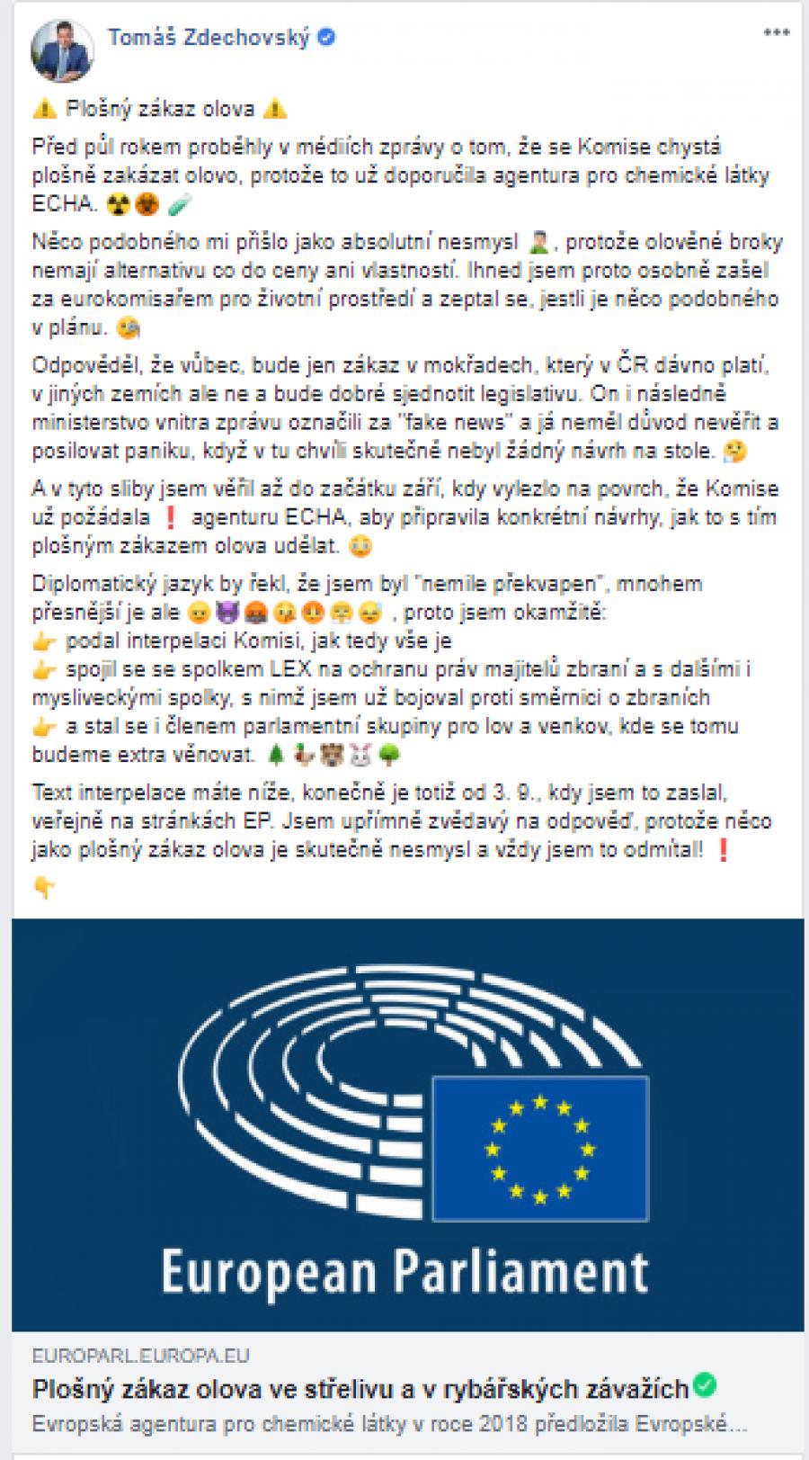 Mé vyjádření k olovu. Text interpelace dostupný zde: https://www.europarl.europa.eu/doceo/document/E-9-2019-002763_CS.html
