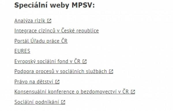 Speciální weby Ministerstva práce