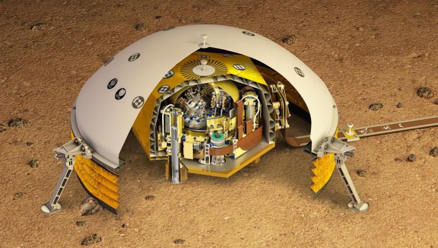 Obrázek: Seismometr, pracující na Marsu. Zdroj: NASA/JPL-Caltech/CNES/IPGP, Public domain, via Wikimedia Commons, https://upload.wikimedia.org/wikipedia/commons/1/1c/PIA22320_%E2%80%93_Cutaway_of_SEIS_%28Artist%27s_Concept%29.jpg